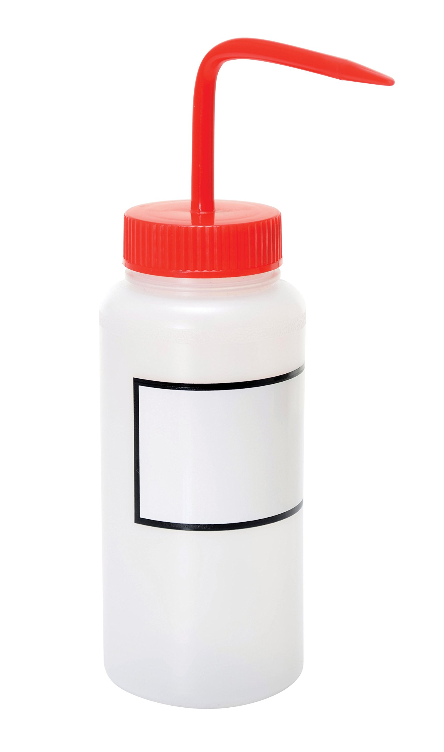 Vestil BTL-WW-16R-LBL Wide Mouth Low Density Polyethylene (LDPE) Round Squeeze Wash Bottle with Label and Red Cap, 16 oz Capacity, Translucent