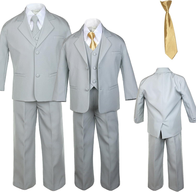 6pc Boy Gray Vest Formal Tuxedo Suits with Satin Dark Gray Necktie Baby to Teen