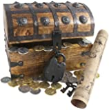 Wooden Pirates Treasure Chest Box Free Lock Key Metal Pirate Coins By Well Pack Box (Large 8x6x6)