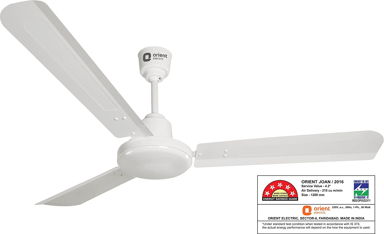 Orient Electric Energy Star 47-inch 48-Watt Energy Saver Ceiling Fan  (Crystal White)