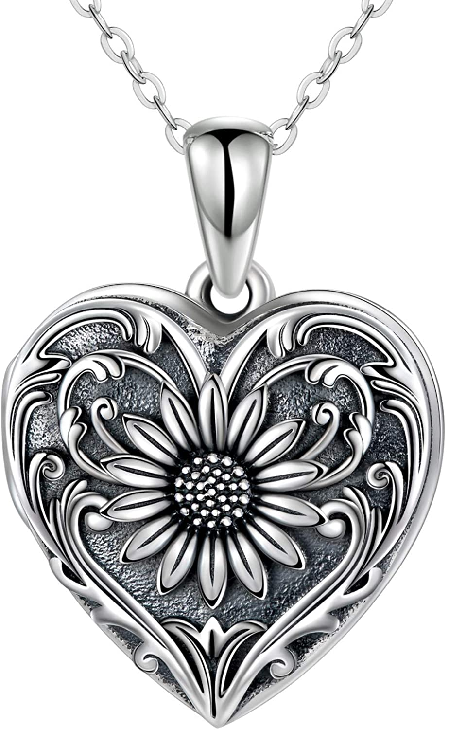 SOULMEET Sunflower Heart Shaped Locket Necklace That Holds Picture Photo Keep Someone Near to You Sterling Silver Custom Jewelry Personalized Locket Necklace