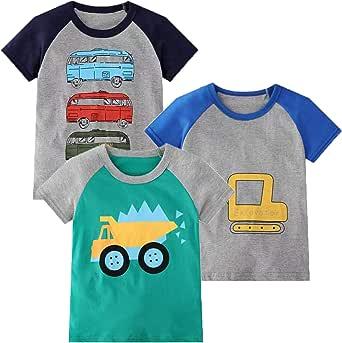 Camiseta infantil, manga larga, para niños, de algodón, informal, cálida, con estampado de dinosaurio en diseño de dibujos animados, juego de varios paquetes