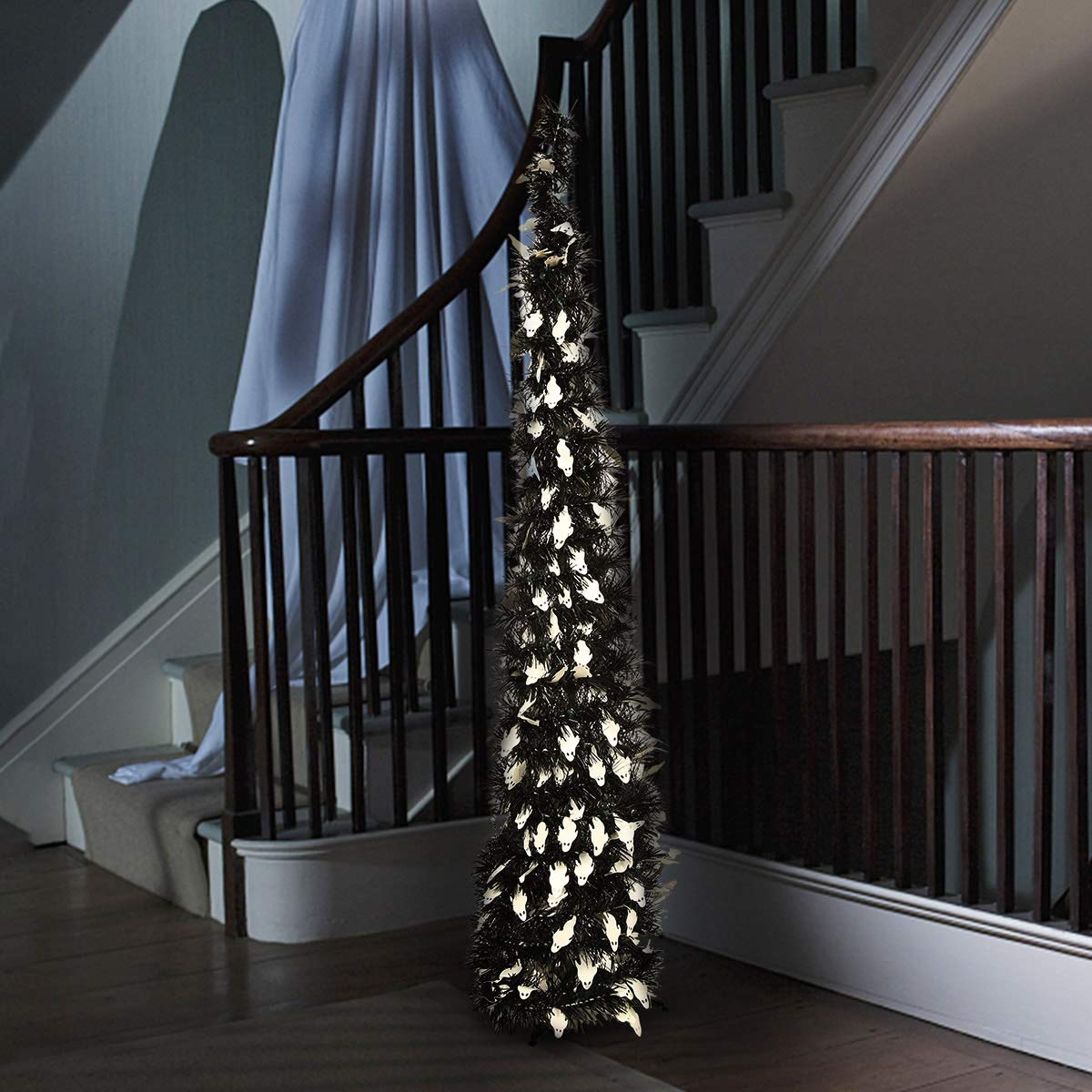 Yayoshow Collapsible Halloween Xmas Decoration Trees, Pop up Halloween Pumpkin Ghost Tinsel Sequins Tree with Stand for Home Fireplace Party Decoration, Easy-Assembly & Reusable, 3.5ft(106CM)