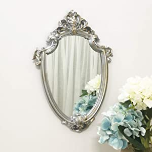 Yash Decorative Wall Mirror, Vintage Hanging Mirrors for Bedroom Living-Room Decor, Antique Silver