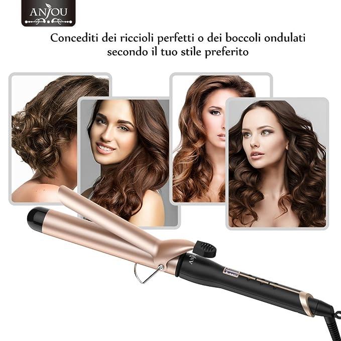 Anjou - Rizador de pelo de hierro de 32 mm - Revestimiento de cerámica turmalina con tecnología PTC (coeficiente de temperatura positivo), ...