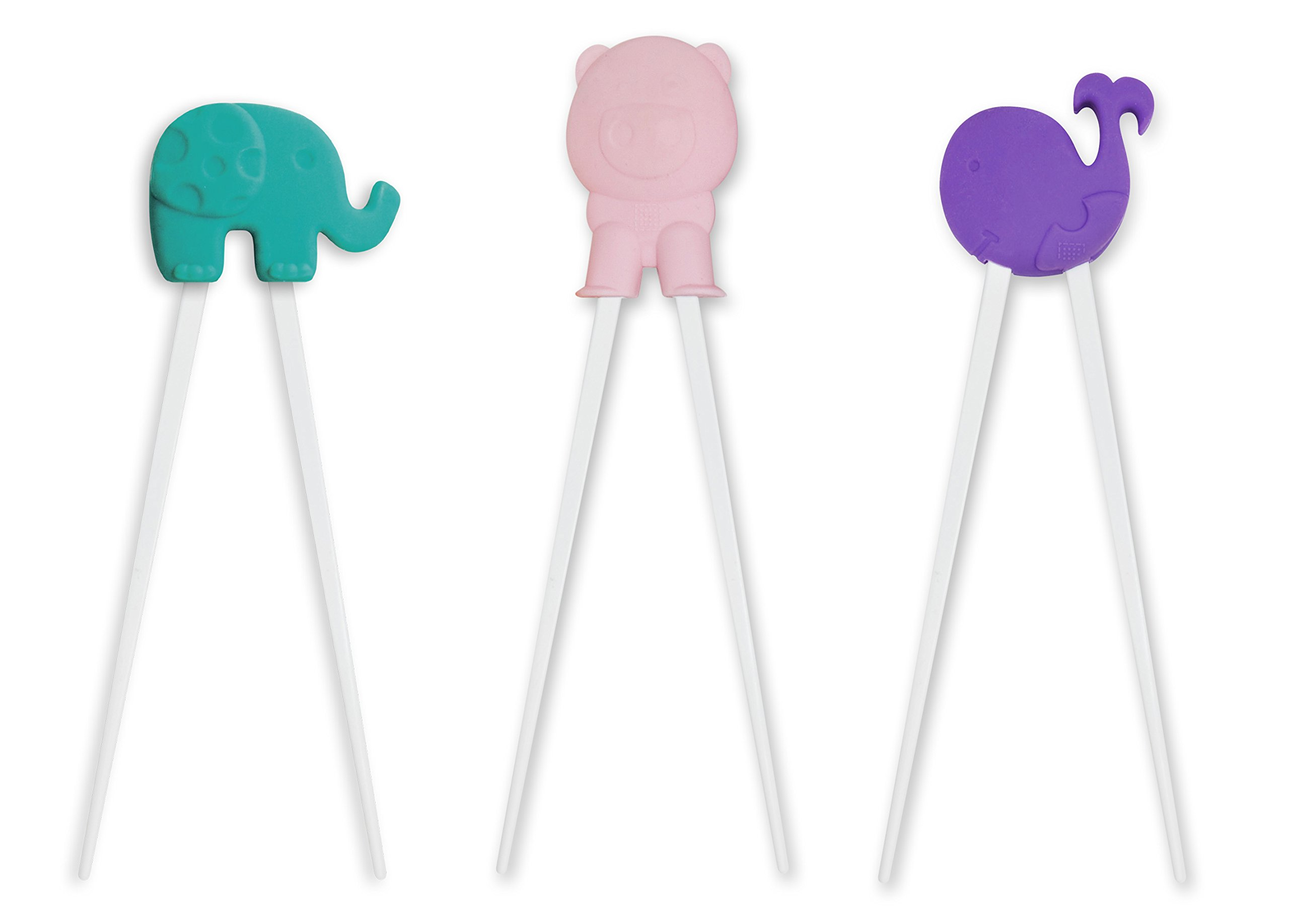 Marcus & Marcus Baby Learning Chopsticks 3 Pack Set, Ollie the Elephant, Pokey the Piglet & Willo the Whale