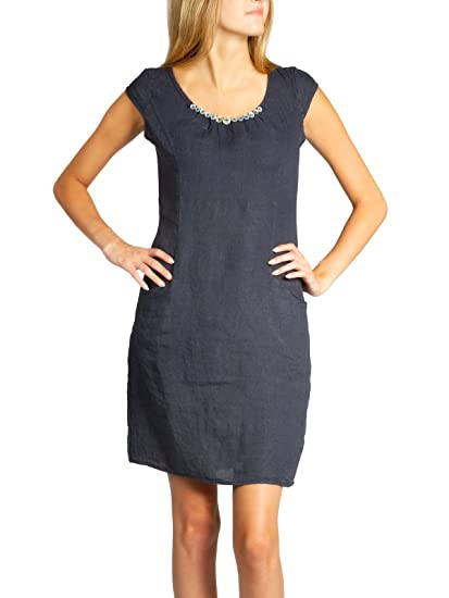 0a80a94d39bc CASPAR SKL018 Casual Knee-Length Summer Dress for Women 100% Linen with  Button Decoration  Amazon.co.uk  Clothing