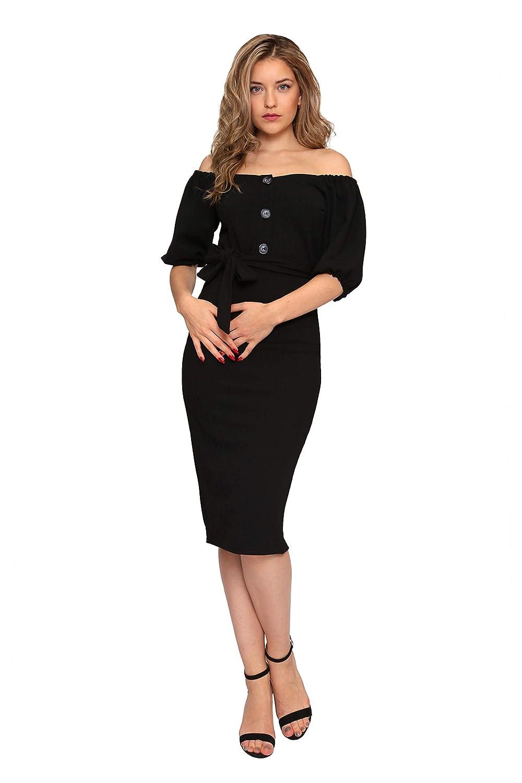 f35f8c06f6589 Aarzoo Women's Off-Shoulder Midi Stretch Bodycon Dress: Amazon.co.uk:  Clothing