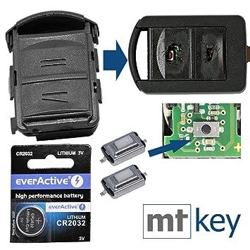 Juego de reparación de la carcasa de la radio del mando a distancia Car Key Car Key 2x micro botón pulsador 1x CR2032 batería para Opel