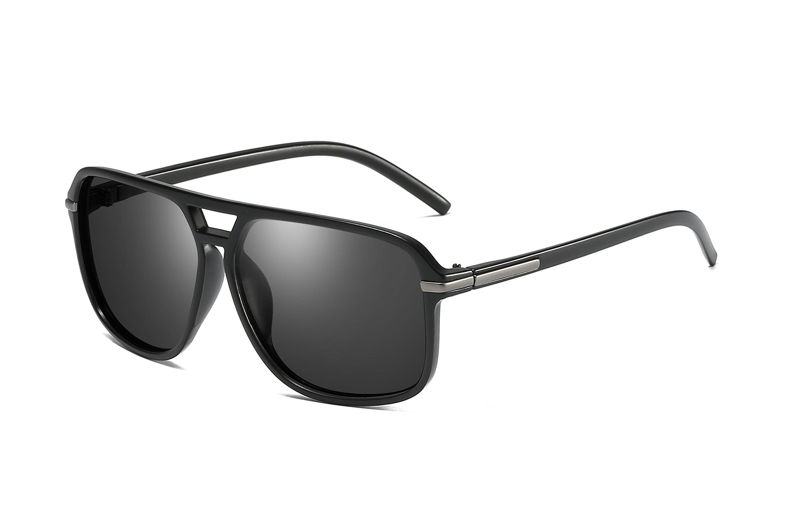 Heptagram Goggle Hot Retro Aviator Polarized Classic Driving Men Sunglasses (Black Frame / Black Lens) by Heptagram