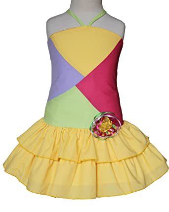 be60eb29f8f Amazon.com  Girls Colorful Yellow Summer Dress with Spaghetti Straps and Tiered  Skirt  Clothing