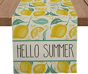 Artoid Mode Hello Summer Lemon Table Runner, Seasonal Spring Summer Fruit Kitchen Dining Table Decoration for Home Party Decor 13 x 72 Inch