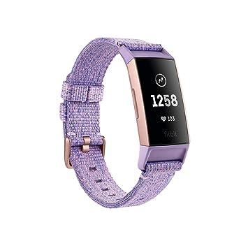 6252bbe255ab Fitbit Charge 3 Pulsera Avanzada de Salud y Actividad física, Unisex-Adult,  Oro Rosa/Lavanda, Talla Unico