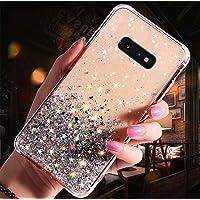 JAWSEU Funda Brillante Compatible con Samsung Galaxy S10e, Transparente Brillo Bling Glitter Diseño Ultra Delgada Slim…