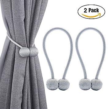 Wangjie Juego de 2 clips para cortinas y cortinas con hebilla, soporte para sujetar cortinas para el hogar, oficina, decoración, Gris, talla única: ...