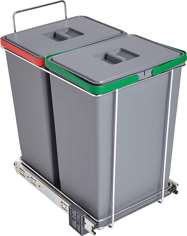Elletipi PF01 44B2 Ecofil - Cubo de basura de reciclaje con base diferenciada, extraíble, de plástico y metal, gris, 30 x 45 x 46 cm: Amazon.es: Hogar