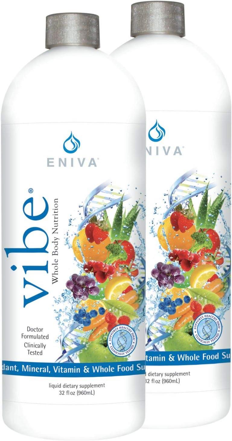 Eniva Vibe Fruit Sensation Liquid Full Spectrum Daily Multi Minerals Vitamins 2 Bottle Value Pack 64 oz