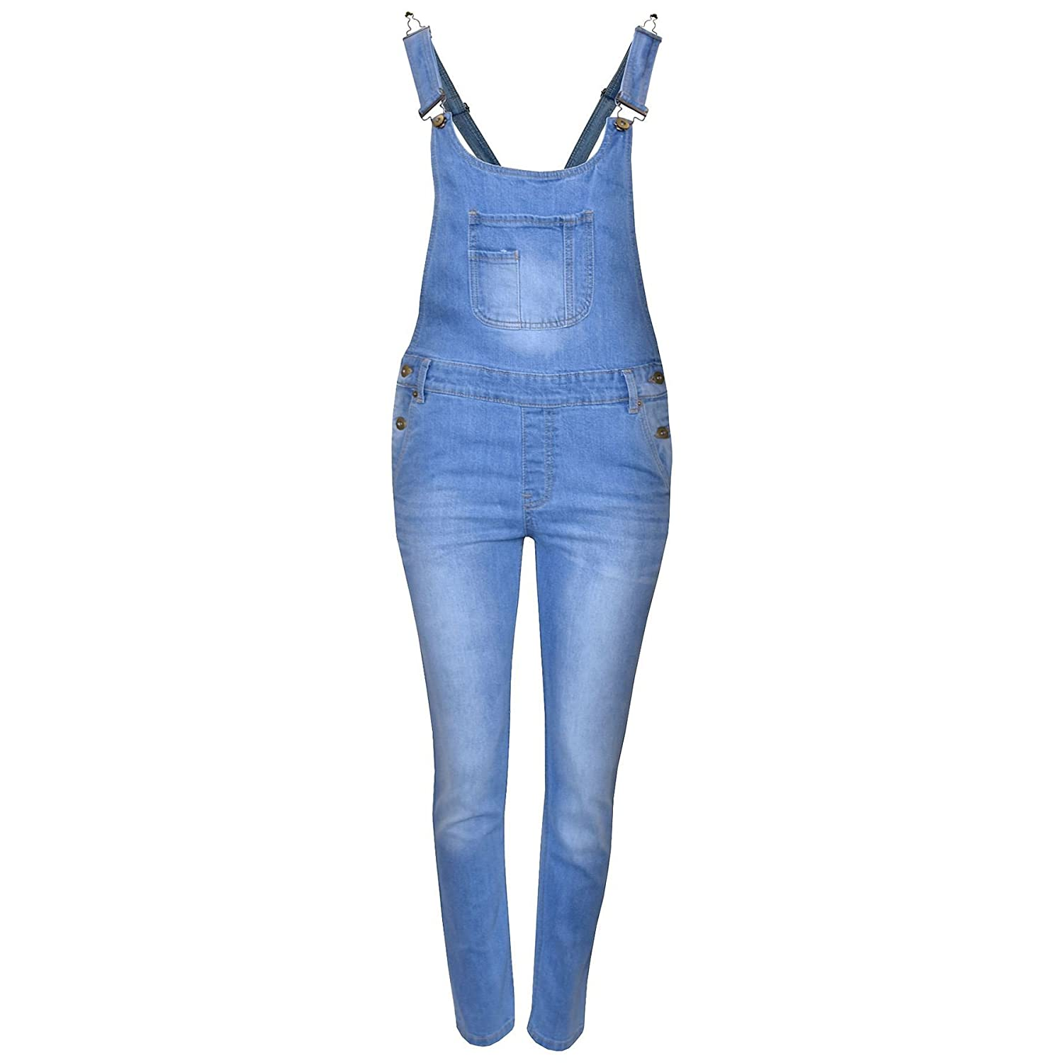 Kids Girls Denim Stretch Dungaree Jumpsuit Playsuit All In One Jeans 7-13 Years
