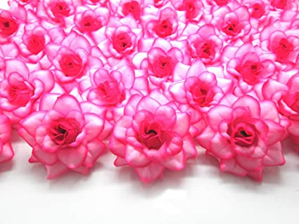 Amazon 100 silk hot pink edge roses flower head 175 100 silk hot pink edge roses flower head 175quot artificial flowers mightylinksfo