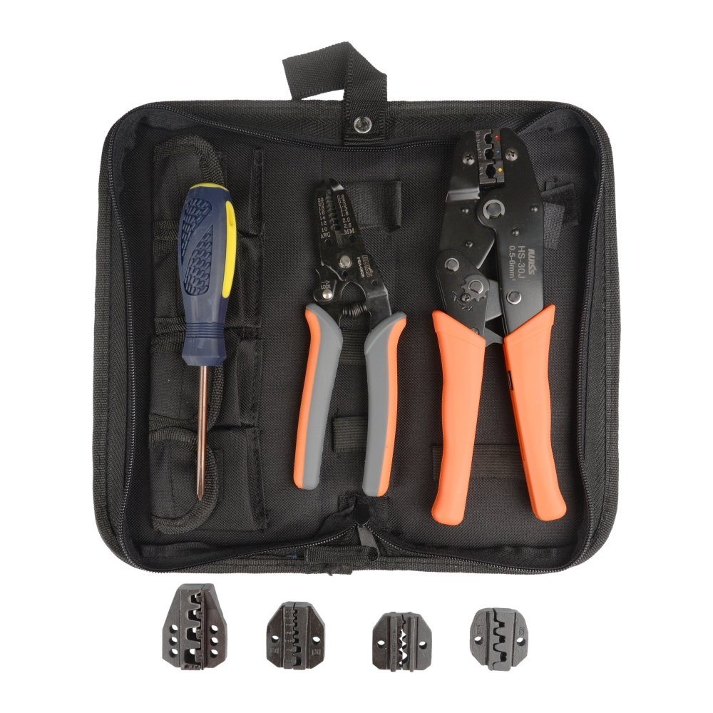 IWISS Crimping tool kit with Stripper&Cutter for different kind terminals with 5 interchangeable die sets 0.5-35mm ² packed with Oxford bag