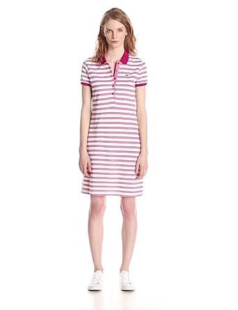 ef5439e753bc5 Lacoste Women s Short Sleeve Pique Striped Polo Dress