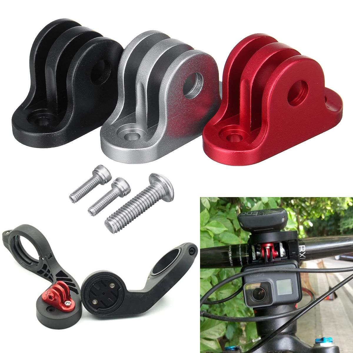 Pinkfishs BIKIGHT Bicicleta Manillar Ordenador Camara Montaje Adaptador Soporte para GoPro Garmin Edge/Bryton Ordenador - Rojo