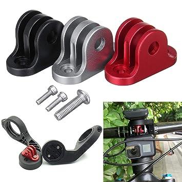 73c668357 Pinkfishs BIKIGHT Bicicleta Manillar Ordenador Camara Montaje Adaptador Soporte  para GoPro Garmin Edge/Bryton Ordenador - Negro: Amazon.es: Deportes y aire  ...
