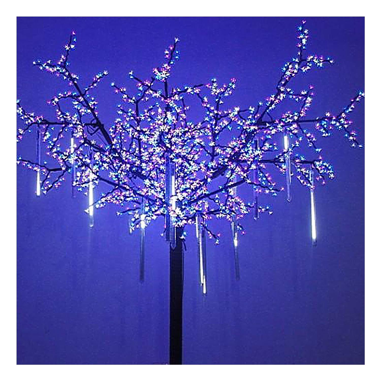 OMGAI LED Meteor Shower Rain Lights - Waterproof Drop Icicle Snow Falling Raindrop 30cm 8 Tubes Cascading Lights for Wedding Xmas Home Décor, Cool White (UL Listed Plug)