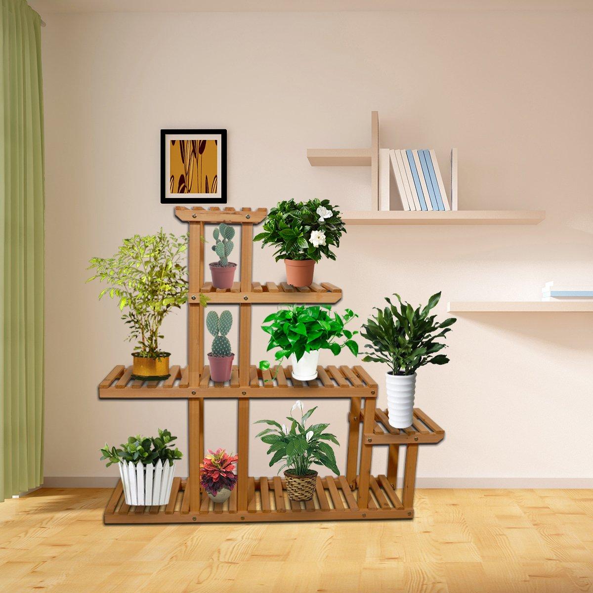 Yardeen Wooden Plant Display Flower Stand 5-Tier Storage Rack Shelving 10 Pot Holder for Garden Patio Corner Indoor&Outdoor Décor by Yardeen (Image #6)