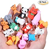 FunsLane Japanese Animal Erasers for Kids 30 Pcs, Mini Puzzle Eraser Take Apart Toys Kawaii Pencil Erasers Adorable Randomly Selected Zoo Animal Collection Set Novelty Party Favors Educational Gift