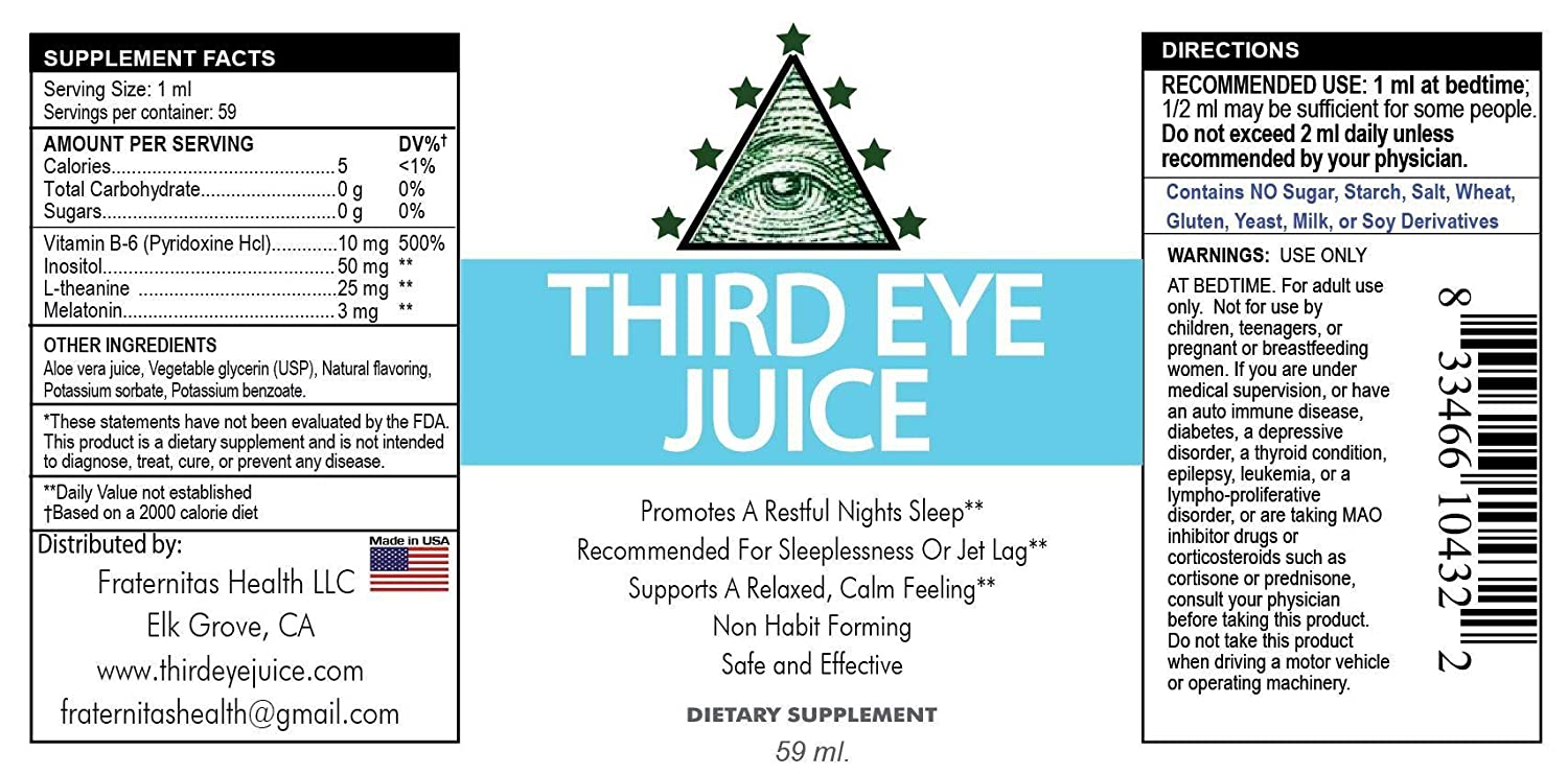Amazon.com: Third Eye Juice - Liquid Sleep aid with melatonin | Gluten-Free |: Health & Personal Care