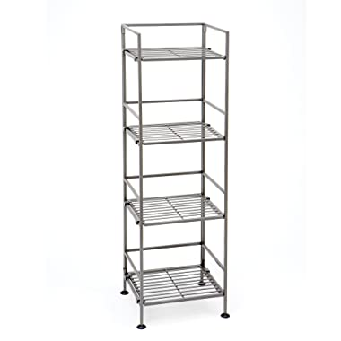 Seville Classics 4-Tier Iron Square Tower Shelving, Satin Pewter