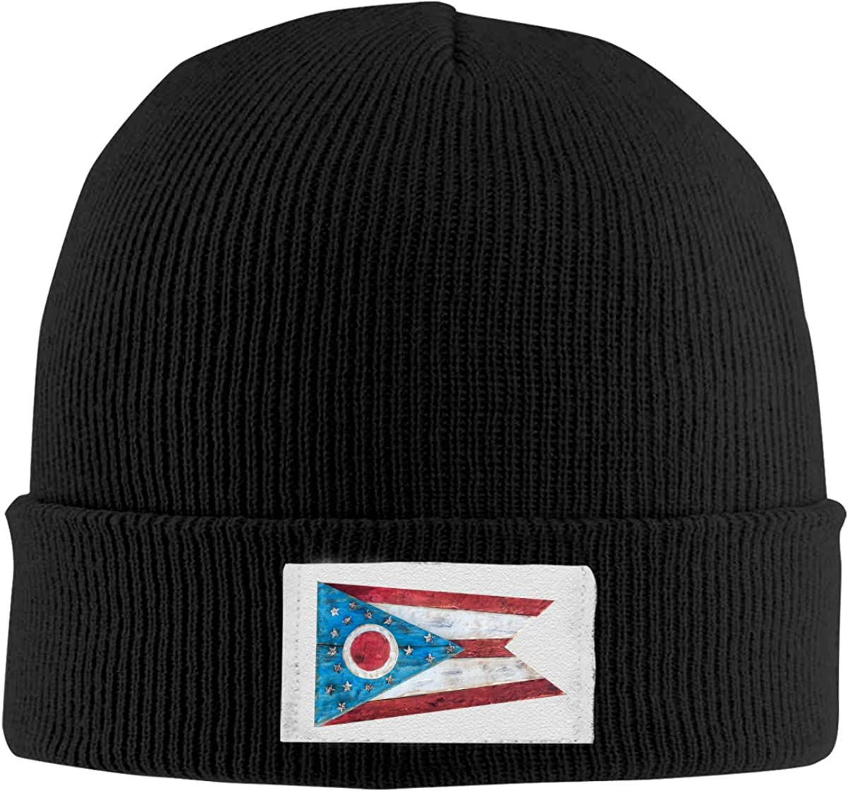 Vintage Ohio Vintage Flag Top Level Beanie Men Women Unisex Stylish Slouch Beanie Hats Black