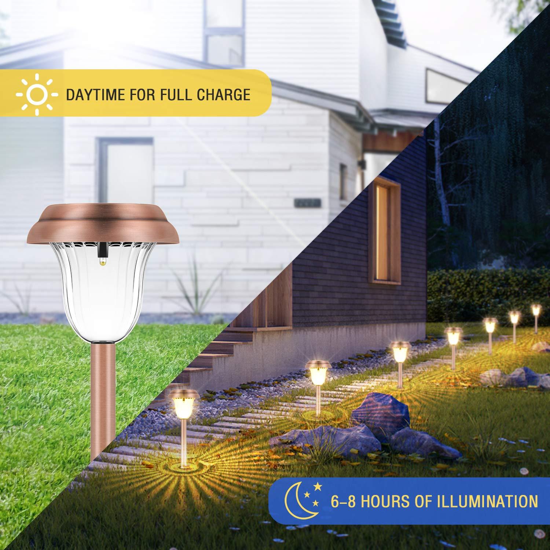 Pathway Lights for Yard Warm White Oak Leaf Outdoor Solar Lights Copper 8-Pack Patio /& Garden