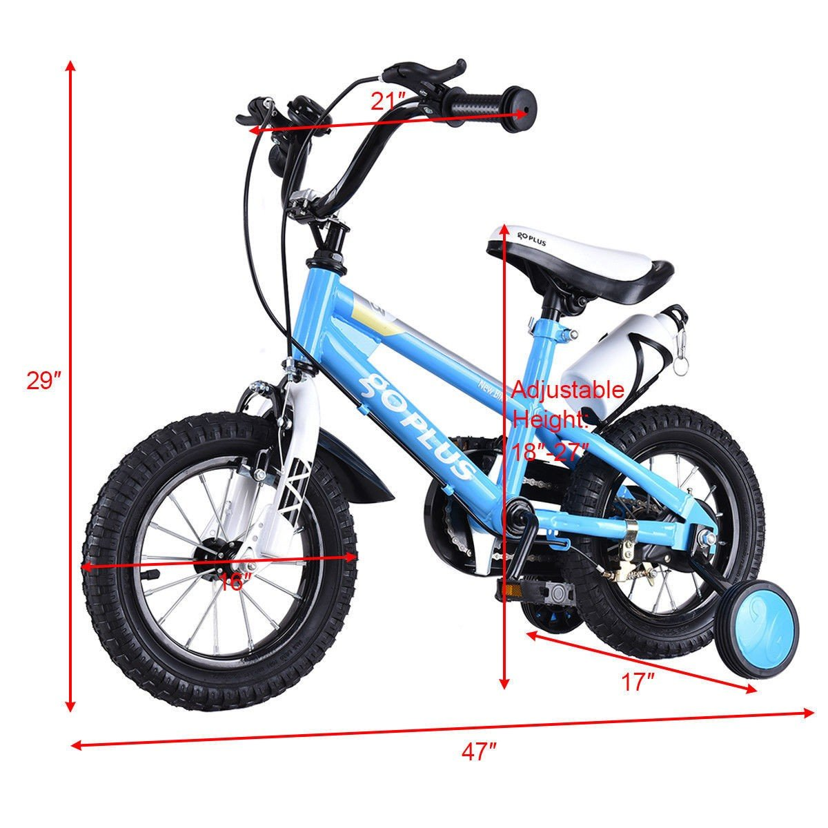 MD Group Kids Bicycle w/ Training Wheels Freestyle 16'' Blue Adjustable Children Xmas Gift by MD Group (Image #4)