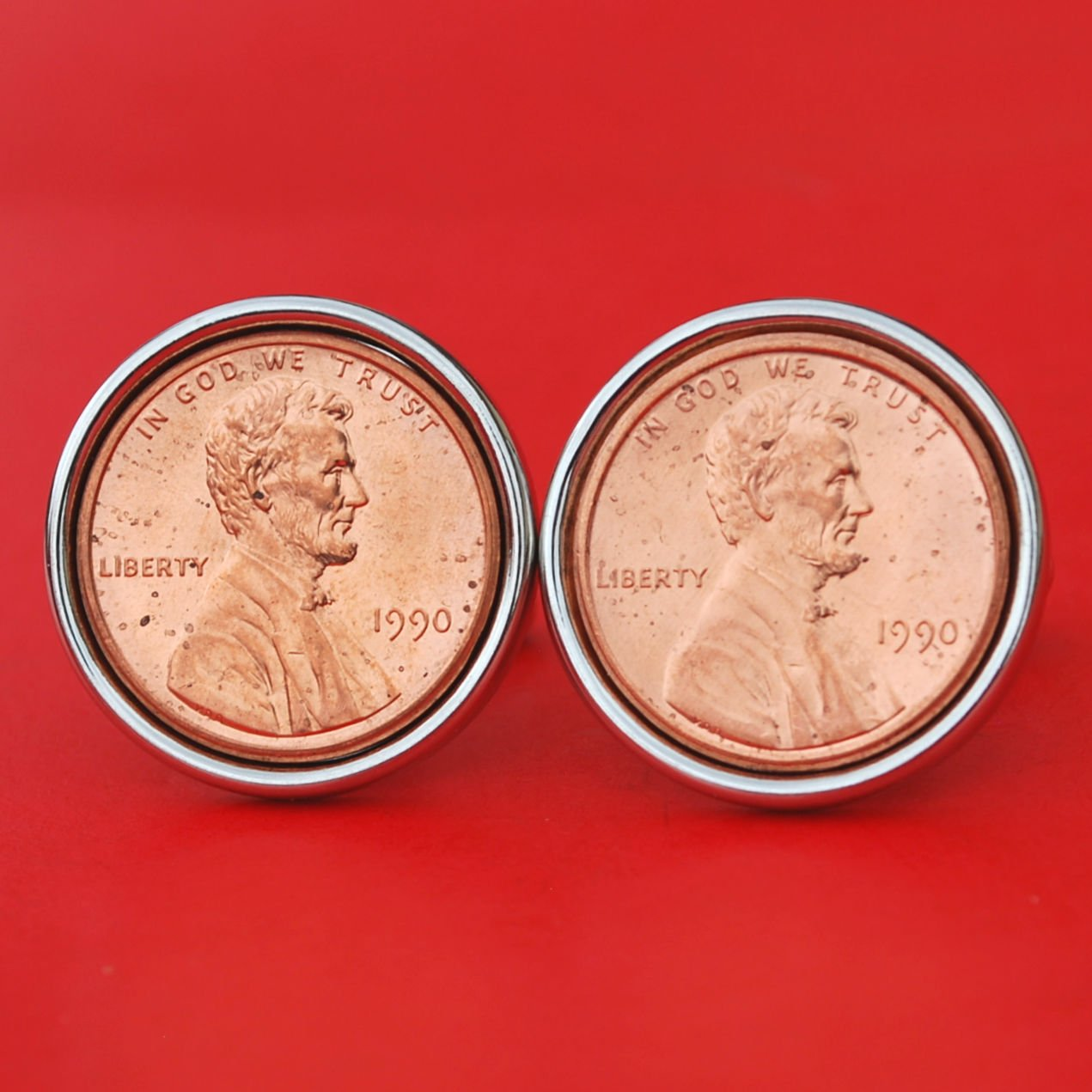 US 1990 Lincoln Small Cent BU Uncirculated Coin Silver Plated Cufflinks NEW - Lucky Penny