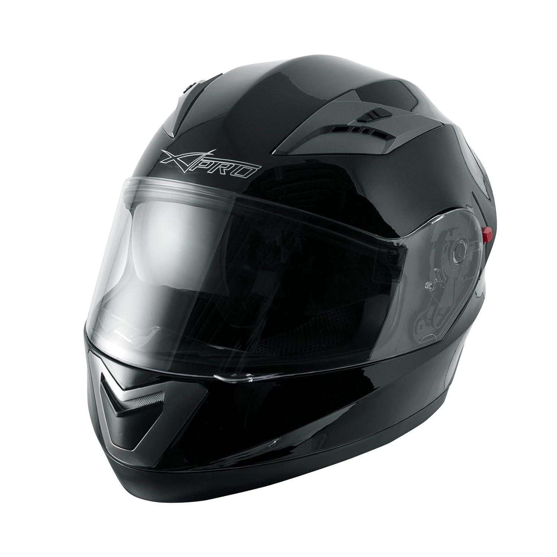 A-pro Casque Homologu/é Integral Moto Scooter Pare-soleil int/égr/é Touring Gris L