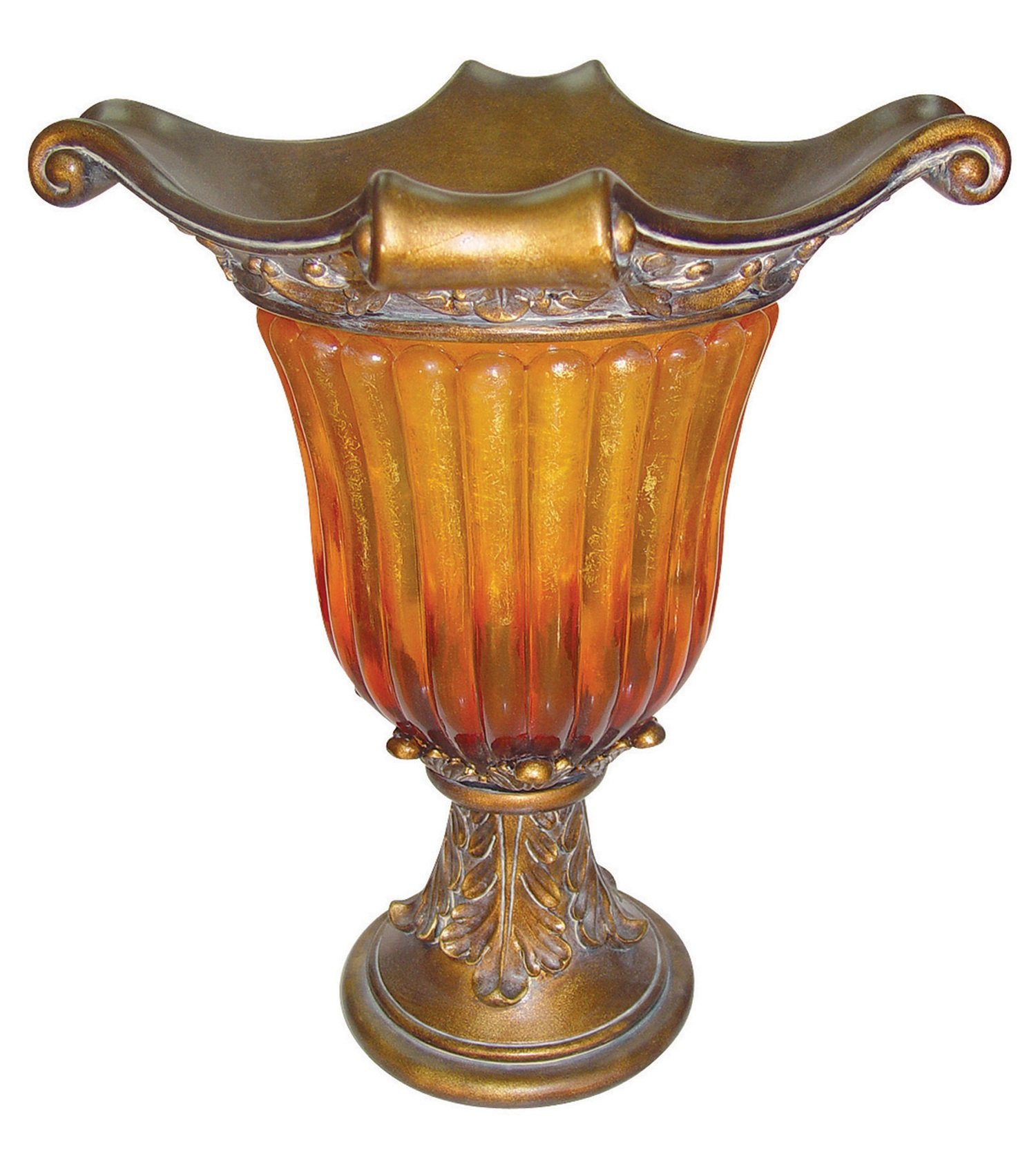 OK Lighting OK-2856A 20'' H Gold Amber Vase