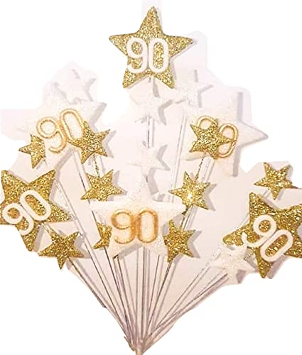 STAR AGE 90TH BIRTHDAY GLITTERED CAKE TOPPER IN GOLD AND WHITE