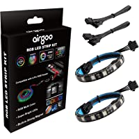 PC RGB LED Strip Light, 2pcs Magnetic LED Strip for M/B with 12V 4-Pin RGB LED headers, Compatible with ASUS Aura, MSI…