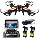 WiFi FPV Drone with 720P HD Camera - UDI U842 Predator - RC Drone Quadcopter with Headless Mode and Best Drone for Beginners - 2 Batteries 4GB TF Card