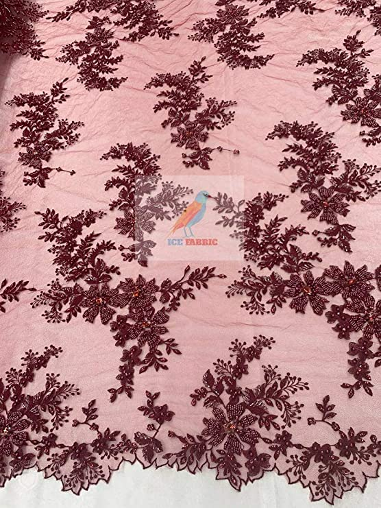 Burgundy Mesh Lace Fabric LeafsBush Design With Scattered BeadsPearls Fabric Lace Fabric by The Yard And Embroider For Bridal