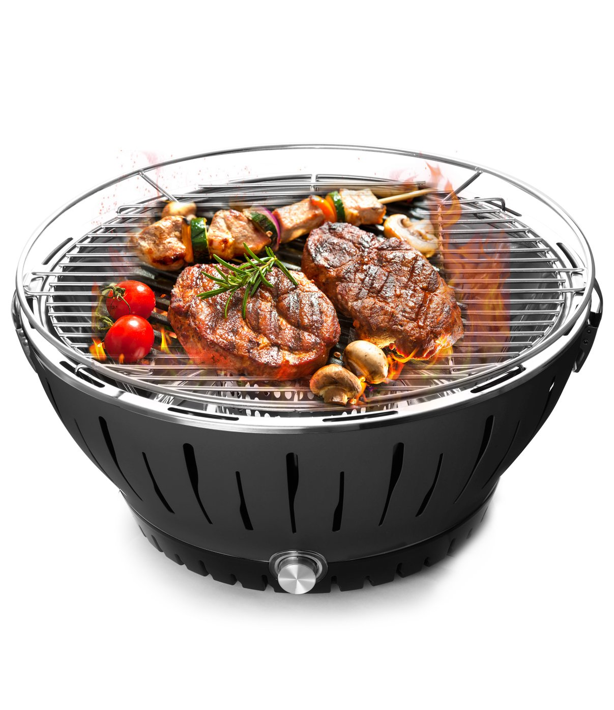 BOLUX Charcoal Barbecue Grill Lotus Outdoor Portable Quick Heat Smokeless BBQ with Transport Bag,Black Bolin