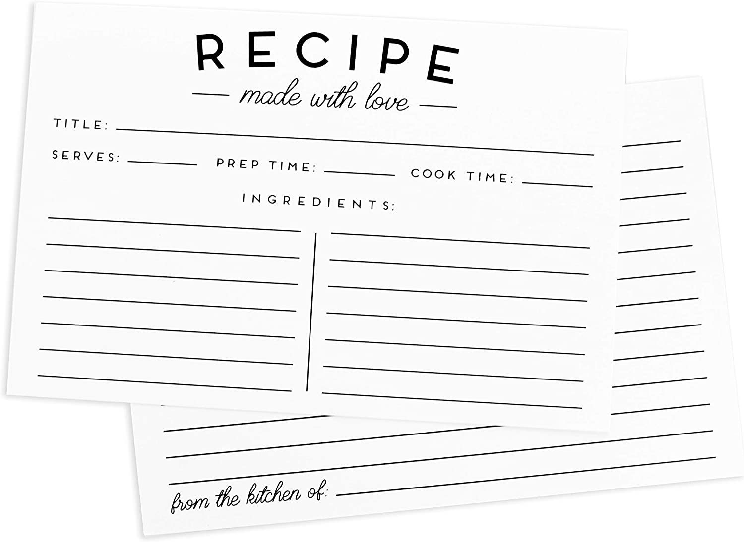 This is an image of a recipe card in white color with wordings indicating the Title of the Recipe, serves, prep and cook time.