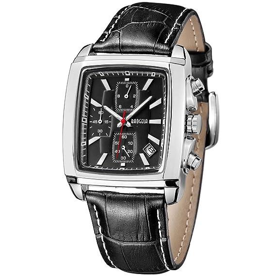 MEGIR Relojes Elegante Hombre Analogico de cuarzo, cuadrado dial, cuero clasico negro, cronógrafo y impermeable: Amazon.es: Relojes