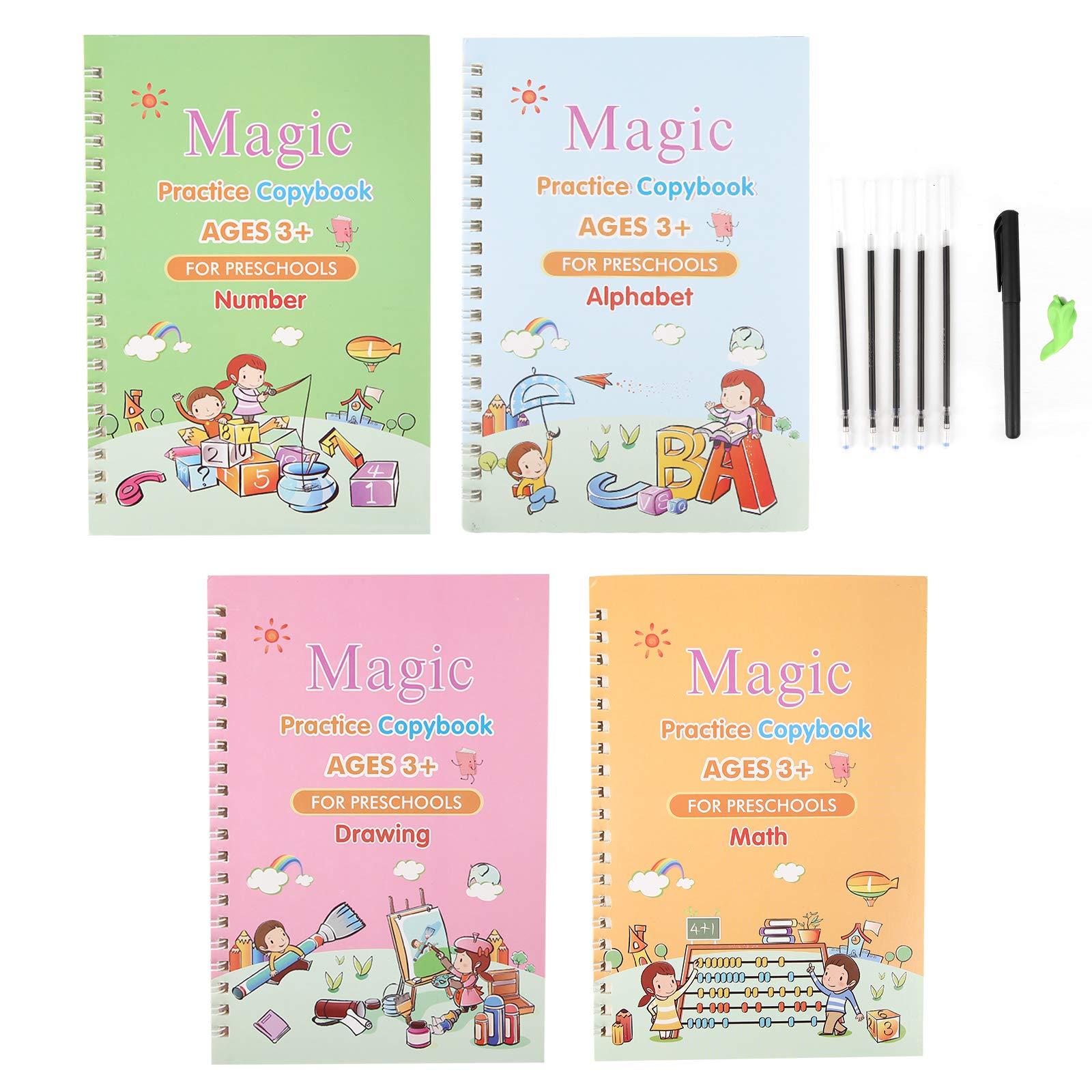 Magic Practice Copybook, English Magic Handwriting Copybook, Reusable Writing Practice Book Set with Pen for Kids