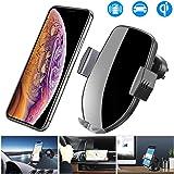 車載Qi ワイヤレス充電器 車載 ホルダー 10W/7.5W 急速ワイヤレス充電器 車載スマホホルダー 360度回転 粘着式&吹き出し口2種類取り付 iPhone 11/pro/pro max/X/XR/XS/XSMAX/8/8 Plus/Galaxy S9/S8/S8 Plus/S7/S7 Edgete 8/Nexus 5/6等に適用ワイヤレス充電機種 に対応…