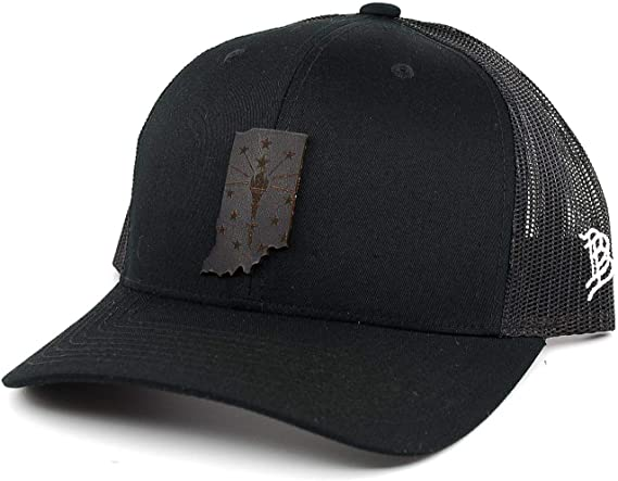 OSFA//Charcoal Branded Bills /'Indiana Native Leather Patch Snapback Hat