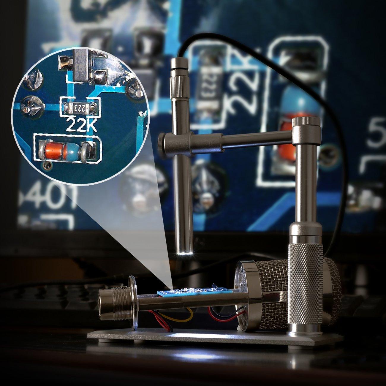 sensore CMOS avanzato 500X Ingrandimento con Sensore CMOS Avanzato Ispezione PCB 8 Luce LED Regolabile SHUOGOU USB Digitale Microscopio 2.0MP 1600 x 1200 HD Imaging