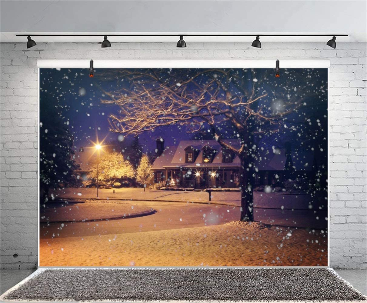 Christmas New Year Theme Snowscape Backdrop Polyester 8x6.5ft Snowy Night House Frontage Road Lantern Big Tree Photo Background Xmas New Year Wintery Party Banner Child Baby Adult Portrait Shoot